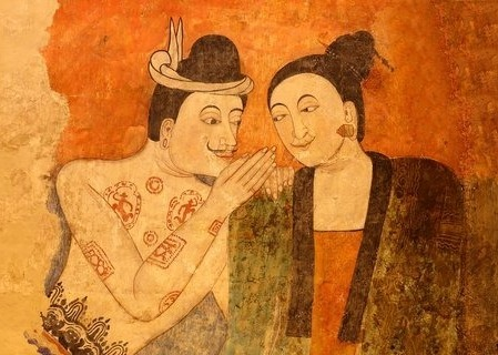 Thai art - whispering.