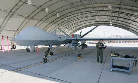 An unmanned drone at Creech air force base in Indian Springs, Nevada. Photograph: Ethan Miller/Getty Images
