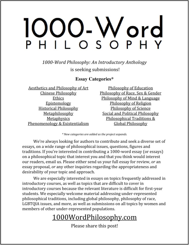 submissions  word philosophy an introductory anthology all essays are original contributions to word philosophy and are  published with permission from the authors contributing authors retain any  and all