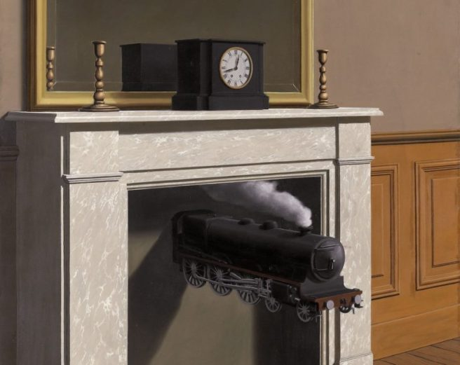 time travel art - train coming out of a fireplace, with a clock on mantel.