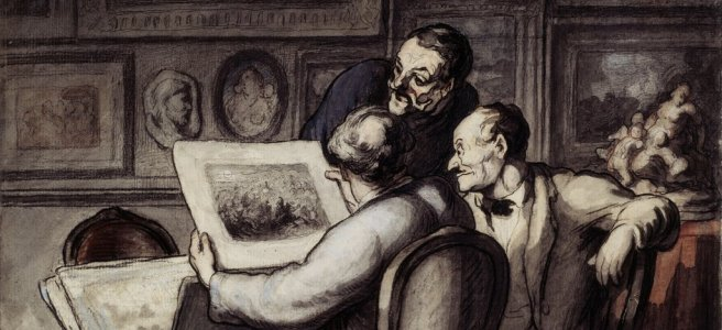 """Lovers of prints"" by Honore Daumier"