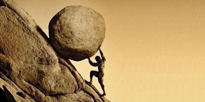 Sisyphus rolling a boulder, as punishment.
