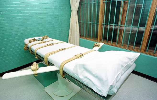 "The ""death chamber"" at the Texas Department of Criminal Justice Huntsville Unit."