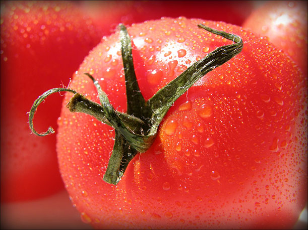 A red tomato.