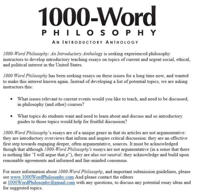 1000 word philosophy CFP