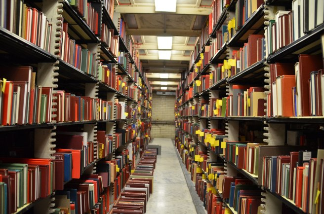 Books on shelves in the Library of Congress.
