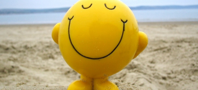"""Mr. Happy"" on the beach."