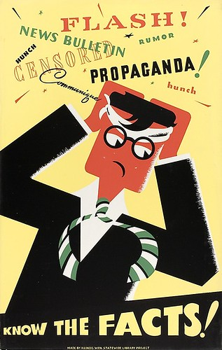 Know the Facts: A WPA (Works Progress Administration, part of the New Deal) poster, imploring the public to develop critical thinking skills. Circa late 1930-early 1940s.